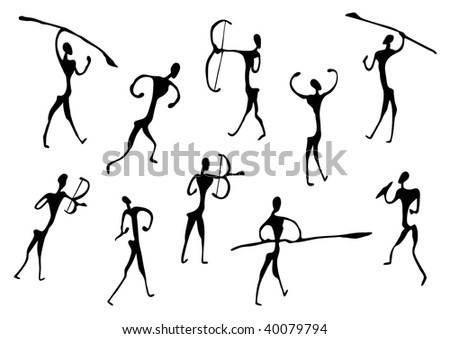 Cave Drawings Of Ancient Hunters, silhouettes - stock photo