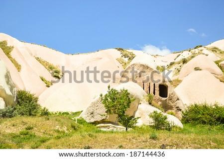 Cave dwelling, Pigeon valley, Cappadocia, Turkey - stock photo