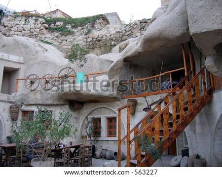 cave hotel in cappadocia turkey - stock photo