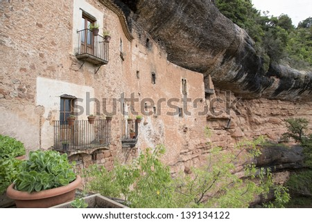 Cave house in Mura, Catalonia, Spain - stock photo