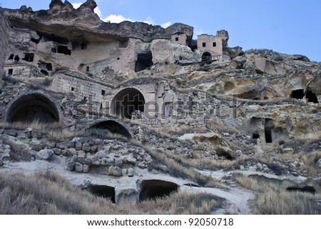 Cave houses (fairy chimneys) in Cappadocia, Turkey