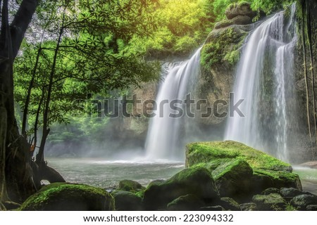 Cave in Heo Suwat Waterfall in Khao Yai National Park in Thailand - stock photo