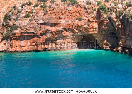 Cave in the rock by the sea
