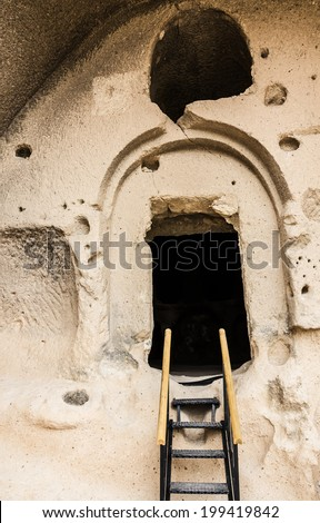 Cave monastery, Cavusin, Cappadocia, Turkey - stock photo