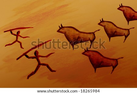 Cave painting sketch of a pre historic bull hunting - stock photo