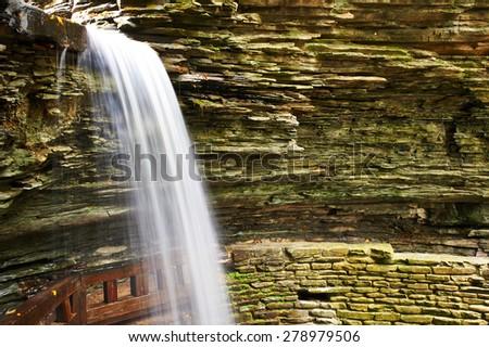 Cave waterfall at Watkins Glen state park, New York, USA - stock photo