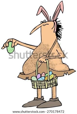 Caveman Easter bunny - stock photo