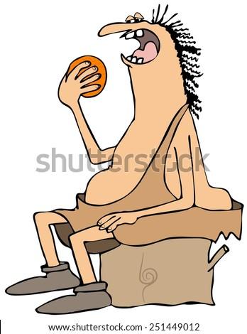 Caveman eating an orange - stock photo