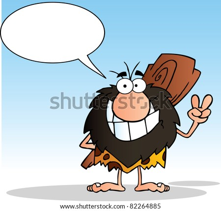 Caveman Gesturing The Peace Sign With His Hand And Speech Bubble.Raster Illustration.Vector version is also available