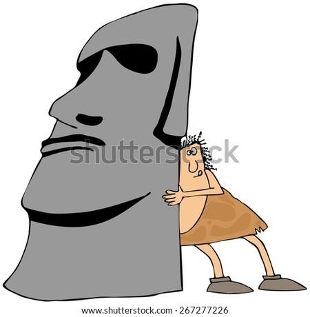 Caveman moving monolith - stock photo