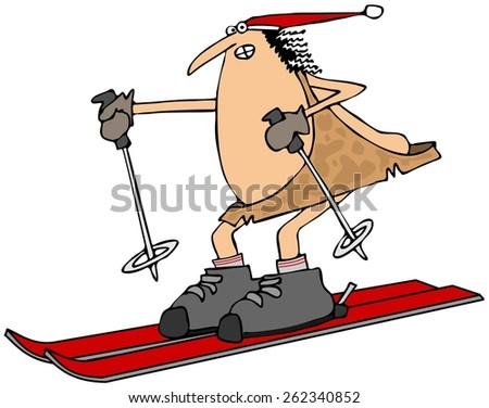 Caveman on skis - stock photo