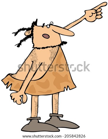 Caveman pointing - stock photo