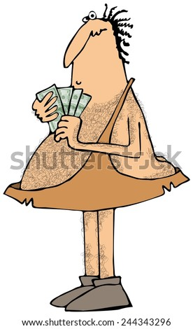 Caveman with a handful of money - stock photo