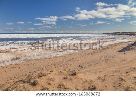 Cavendish beach on the north shore of Prince Edward Island during late winter.