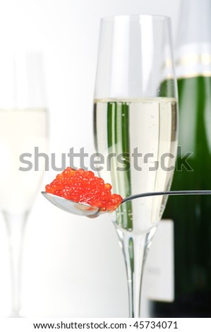 Caviar and champagne - stock photo