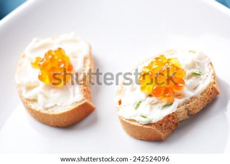 Caviar Canapes - stock photo