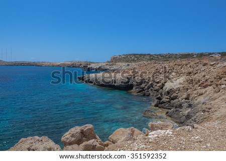 Cavo Greco National Forest, Cyprus. Cape Greco is a National Forest Park with unique flora and fauna and is under the administration of the Forestry Department of the Cyprus Ministry of the Interior. - stock photo