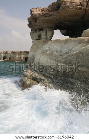 Cavo Greco or Cape Greco - sea caves with churning sea in Cyprus, Mediterranean Europe - stock photo