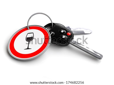 Cay keys with do not drink and drive traffic sign keyring. Concept for the traffic violation of driving under the influence of alcohol.