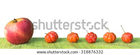Cayenne cherry and apple on banana leaves - stock photo