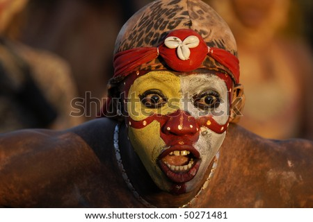 CAYENNE, FRENCH GUIANA - FEBRUARY 14: A mysterious parade-goer participated in French Guiana's Annual Carnival on February 14, 2010 in Cayenne, French Guiana. Almost 80 groups participated this year.