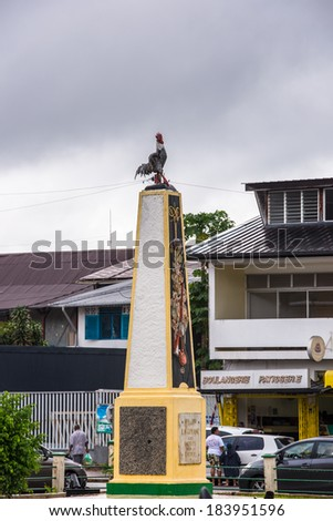 CAYENNE, FRENCH GUIANA - NOV 9, 2013: Galle cock monument in Cayenne, French Guiana. Cayenne was used as a French penal colony from 1854 to 1938.