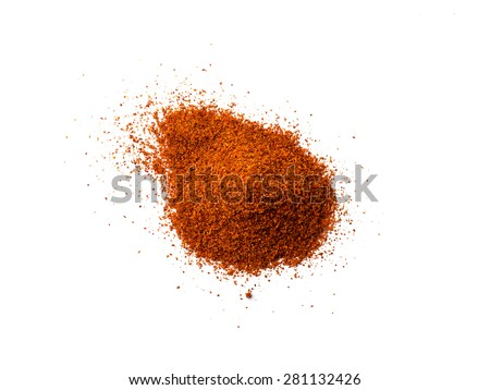 Cayenne pepper - Red chilli powder isolated on white background  - stock photo