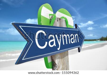Cayman arrow on the beach - stock photo