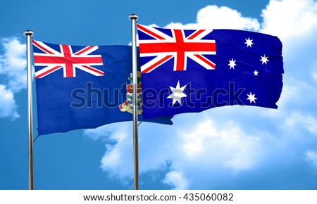 cayman islands flag with Australia flag, 3D rendering