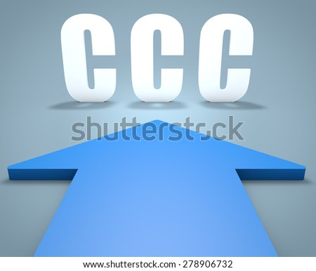 CCC - Customer Care Center - 3d render concept of blue arrow pointing to text. - stock photo