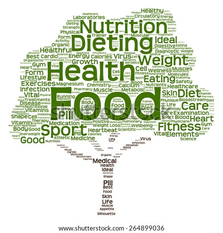 Cconcept or conceptual green text word cloud or tagcloud tree isolated on white background, metaphor to health, nutrition, diet, healthy, wellness, body, energy, medical, sport, heart or science - stock photo