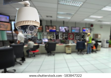 CCTV and security room background - stock photo