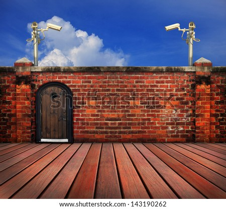 cctv camera and  old brick wall  use for multipurpose - stock photo