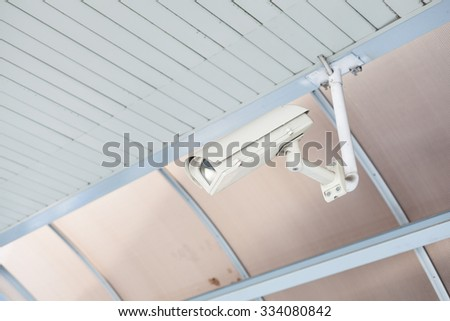 CCTV camera for security in public areas. Is mounted on the ceiling - stock photo