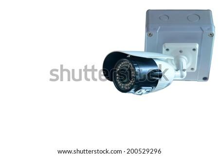 CCTV camera isolated white background - stock photo