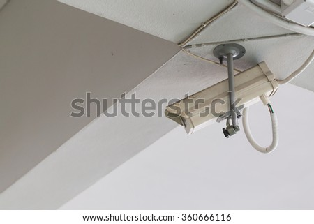 CCTV camera mounted on the ceiling and wall. For security check
