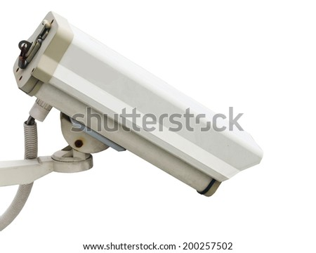 cctv camera on white - stock photo