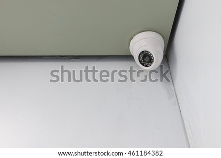 cctv camera security installed on ceiling for safety concept