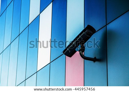 cctv camera security system on office building