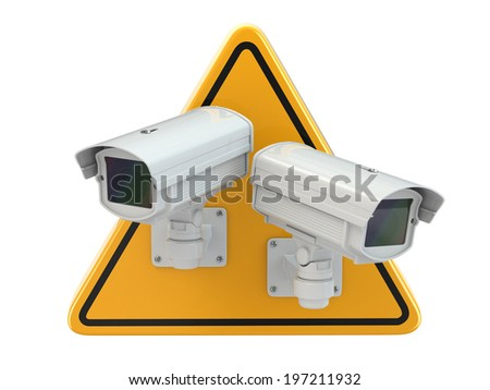 CCTV Camera. Video surveillance sign on white isolated background. 3d - stock photo