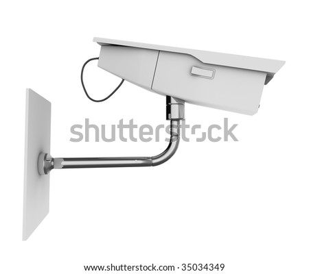 CCTV camera viewed from the side. High quality 3d illustration, isolated on a white background.