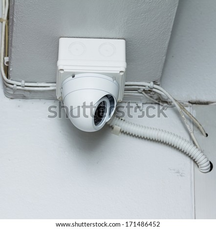 CCTV cameras installed in the building - stock photo