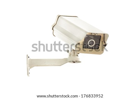 CCTV cameras isolated on white background - stock photo