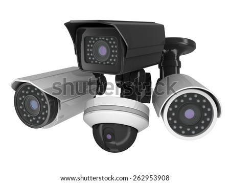 Cctv Cameras On White Background Done Stock Illustration 262953908 ...
