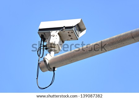 CCTV in blue sky background