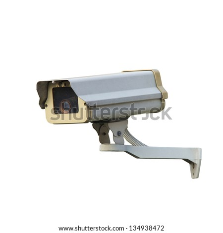 CCTV or security camera isolated over white background - stock photo