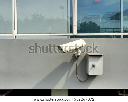CCTV or surveillance camera which use for security reason in typical area aside a building