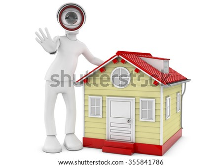 CCTV security camera for home protection, privacy, security against crime & surveillance, 3d image rendered - stock photo