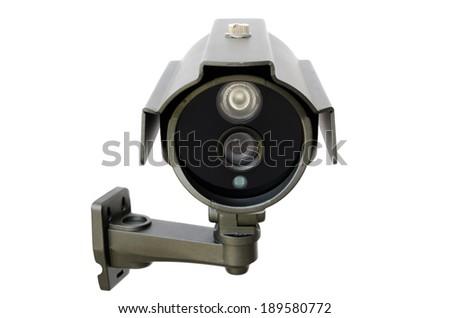 CCTV security camera on white background - stock photo