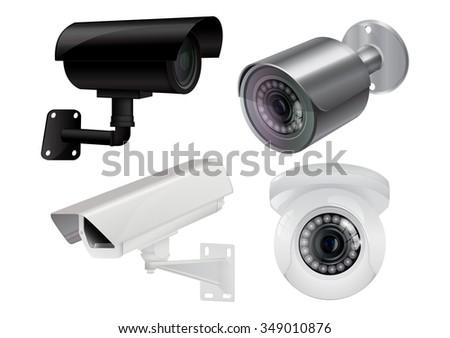 CCTV security camera. Video surveillance. Raster version. Illustration isolated on white background. - stock photo
